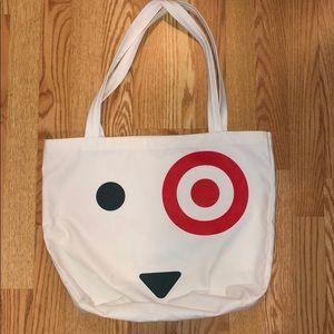 Target white tote bag with dog bullseye face